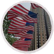 Flags At Rokefeller Plaza Round Beach Towel