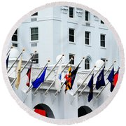 Flags At The Greenbrier Round Beach Towel