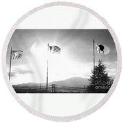 Flags Of Camp Zama 4 Round Beach Towel