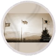 Flags Of Camp Zama 6 Round Beach Towel