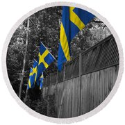 Flags Of Sweden Round Beach Towel