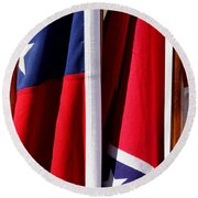 Flags Of The North And South Round Beach Towel