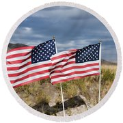 Flags On Antelope Island Round Beach Towel