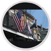 Flags On Bourbon Street Round Beach Towel