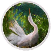 Flamboyant Egret Round Beach Towel by Melinda Hughes-Berland