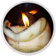 Flame Candle Art Round Beach Towel