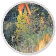 Flame Colored Fall.  Round Beach Towel