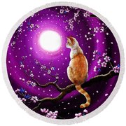 Flame Point Siamese Cat In Dancing Cherry Blossoms Round Beach Towel