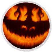 Flame Pumpkin Round Beach Towel