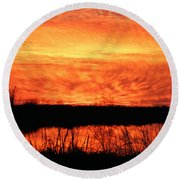 Flamed Sunset Round Beach Towel