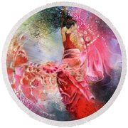 Flamencoscape 13 Round Beach Towel