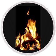Flames In The Dark Round Beach Towel