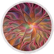 Flames Of Happiness Round Beach Towel