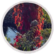 Flaming Beauty Round Beach Towel