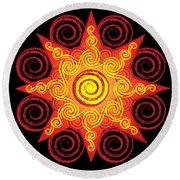 Flaming Celtic Sun Round Beach Towel