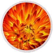 Flaming Dahlia - Paintography Round Beach Towel