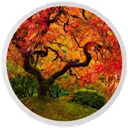 Flaming Maple Round Beach Towel