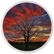 Flaming Oak Sunrise Round Beach Towel