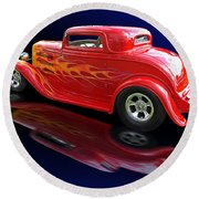 Flaming Roadster Round Beach Towel by Gill Billington