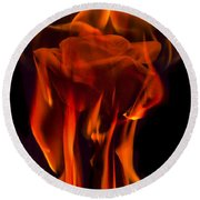 Flaming Rose Round Beach Towel