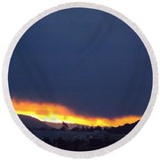Flaming Sunrise II Round Beach Towel