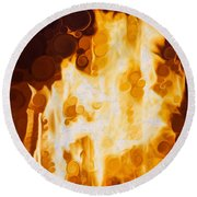 Flaming Waters Round Beach Towel