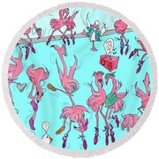 Flamingo A Go Go Round Beach Towel
