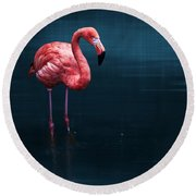 Flamingo - Blue Round Beach Towel