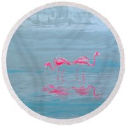 Flamingo Couple In Shallow Waters Round Beach Towel