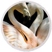 Flamingo Heart Round Beach Towel