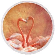 Flamingo Love Round Beach Towel