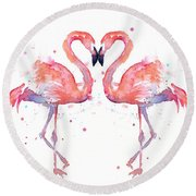 Flamingo Love Watercolor Round Beach Towel by Olga Shvartsur
