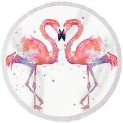 Flamingo Love Watercolor Round Beach Towel by Olga Shvartsur