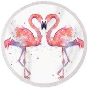 Flamingo Love Watercolor Round Beach Towel
