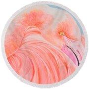 Male Flamingo Round Beach Towel