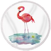 Flamingo Pose Round Beach Towel