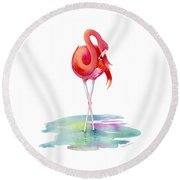 Flamingo Primp Round Beach Towel