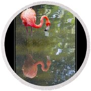 Flamingo Reflected Round Beach Towel