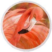 Flamingo - Spirit Of Balance Round Beach Towel
