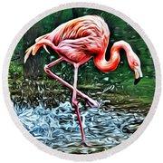 Flamingo Splash Two Round Beach Towel