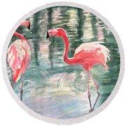 Flamingo Time Round Beach Towel