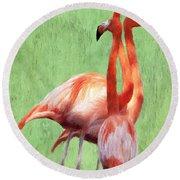 Flamingo Twist Round Beach Towel by Jeff Kolker