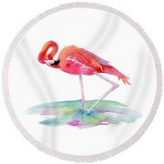 Flamingo View Round Beach Towel