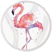 Flamingo Watercolor Round Beach Towel