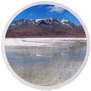 Flamingos At The Altiplano In A Salt Lake Round Beach Towel