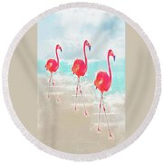 Flamingos On The Beach Round Beach Towel