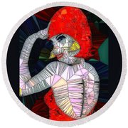 Flapper Girl In Glass Round Beach Towel