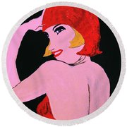 Flapper Girl In Orange C1929  Round Beach Towel