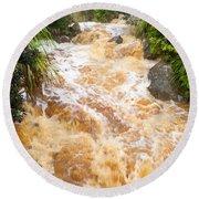 Flash Flood In West Coast Creek Of Nz South Island Round Beach Towel