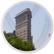 Flat Iron Building Round Beach Towel by Bill Cannon